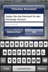 iPhone-Aufforderung, ein Exchange-Passwort einzugeben